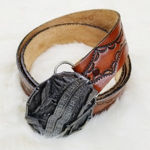 Siskiyou|Tooled Leather Right to Bear Arms Belt